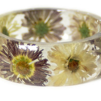 Fall Jewelry - Red Bangle- White Flower Jewelry- Resin Jewelry- Pink Flower Bangle- Tan Resin Bracelet