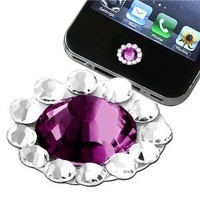 eforCity Home Button Sticker for Apple iPhone/iPad/iPod touch - Purple Diamond: MP3 Players & Accessories