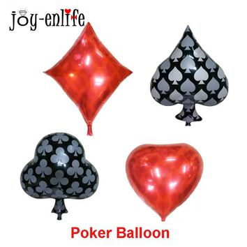 1pc Hen Bachelorette Party Foil Balloons Poker Globos Casino Cards Pice Party Helium Air Balls Happy Birthday Party Ballons