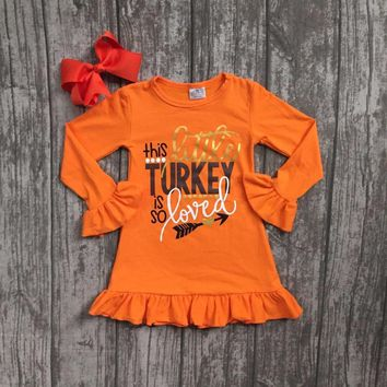 thanksgiving baby girls Fall this turkey is so loved outfits orange dress boutique ruffle cotton children clothes match clip bow