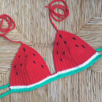 Watermelon crochet bikini halter Festival top - 100%cotton