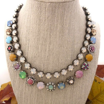 FLORICA- Swarovski crystal and cabochon necklace, pink, mint green, opals, yellow, flower embellished