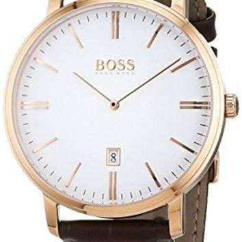 Hugo Boss Mens 1513463 Tradition Classic Brown Leather Band Watch