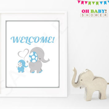 Welcome Sign Elephant Baby Shower Decor Sign Blue and Gray Printable Boy Instant Download Baby Shower Table Sign Decorations ELLBG