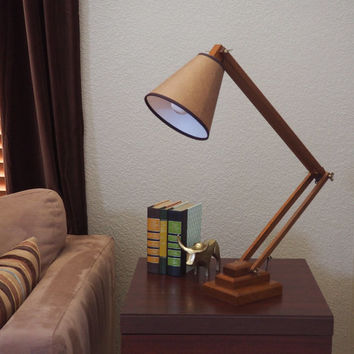 LARGE Adjustable Wooden Table Lamp, Desk Lamp, Architect Lamp, Task Light with Shade | Craftsman Style Home Decor
