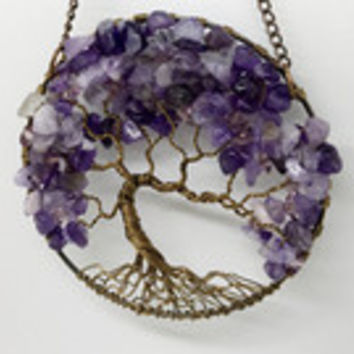Violets Delight SunCatcher Tree of Life Amethyst and Preciosa Crystals Gemstone Antique Copper Wire Wrapped Tree Sun Catcher Window