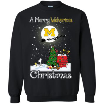 Cover your body with amazing Michigan Wolverines Snoopy Ugly Sweaters Merry Christmas
