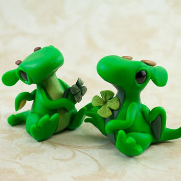 Good Luck Dragon, Dragon Sculpture, Dragon Figure, Four Leaf Clover, Good Luck Charm, Dragon Hatchling, Dragon Baby, Lucky Dragon