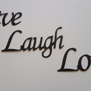 Live Laugh Love Words Simple Font Home Decor Metal Wall Art