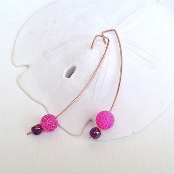 Modern copper earrings. hot pink beaded earrings. long earrings