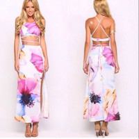 Sexy Fashion Printing  vest skirt F153249