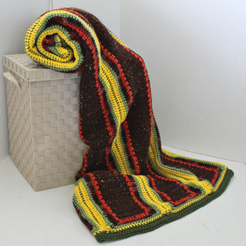 Afghan- Queen Size Crochet Blanket - Brown, Green, Yellow, Orange - Extra Large