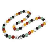 """Sterling Silver Multi-Colored Jade Beaded Necklace, 18"""""""