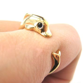 Dolphin Sea Animal Wrap Ring in Gold - Sizes 4 to 7 Only