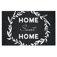 "KESS Original ""Home Sweet Home"" Black White Decorative Door Mat"