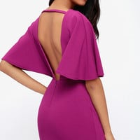 Here's to You Magenta Backless Dress