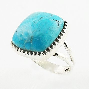 Blue Turquoise Cushion Cut Sterling Silver Ring