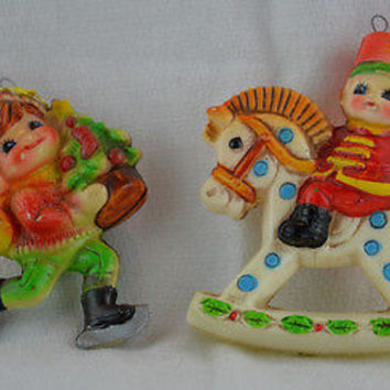 Boy Skating & Rocking Horse Vintage Soft Plastic Christmas Ornaments