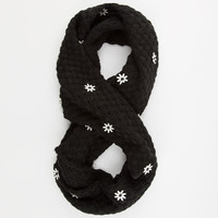 Scattered Flower Infinity Scarf Black One Size For Women 24513810001