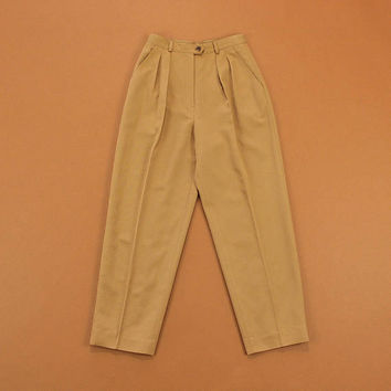 High Waist Trousers, Vintage 90s Trousers, Womens Ralph Lauren Pants, Wool Pleated Trousers, Camel Brown Tapered Pants - Size 4