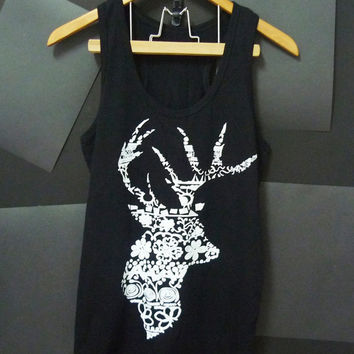 Cotton vintage deer tank top aztec size S/M/L/XL black shirt Women tshirts, t shirts, sleeveless top, cute tank top muscle tee