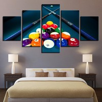 Billiards Pool Table Balls Cue Game Room Panel Wall Art Canvas Print Picture