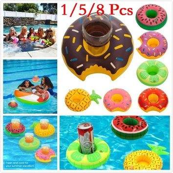 1/5/8 Pcs Newest Inflatable Pool Party Drink Floats Swimming Drink Holder Inflatable Cup Coasters for Pool Party and Kids Bath T