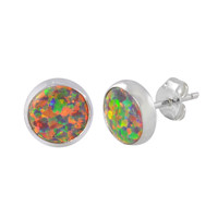 Opal Earrings Gemstone Sterling Silver Studs Iridescent Orange 9mm Round