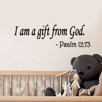 Vinyl Wall Decal Stickers Quote Words I Am A Gift From God Inspiring For Children's Room Letters 2482ig (22.5 in x 7 in)