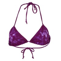 Purple Crinkle Juniors Tie Dye Swim Suit Top
