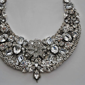 Bridal Jewelry,Wedding Bridal Statement Victorian Bib Necklace,Swarovski Clear Crystals,Filigree,Rhinestone,Ooak,Huge,Vintage Inspired GLORY