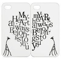 2 Heart & Giraffe Couple Hard Case Cover For iPhone 4 4S 4G 4GS USA Valentine
