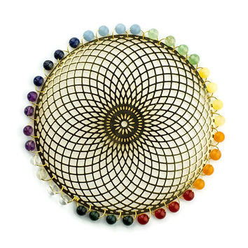 Chakra Healing Tool, Jewelry for the Home, Chakra Balancer, Tube Torus Crystal Art, Gold Sacred Geometry with Crystals, Reiki Practioner