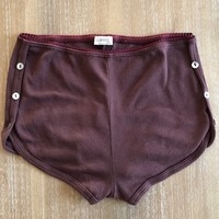 Burgundy Hi Waist Ribbed Shorts