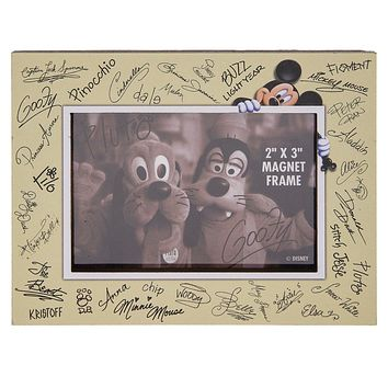 Disney Parks Character Autographs 2x3 Frame Wood Magnet New