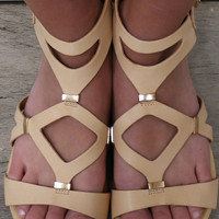 Take It Up A Notch Beige Vegan Leather Flat Gladiator Sandals