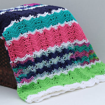 Afghan - Handmade Ripple Crochet Blanket - Teal, Pink, Lime Green
