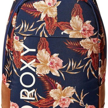 Roxy Junior's Dusk To Dawn Poly Backpack Castaway Floral/Blue Print One Size