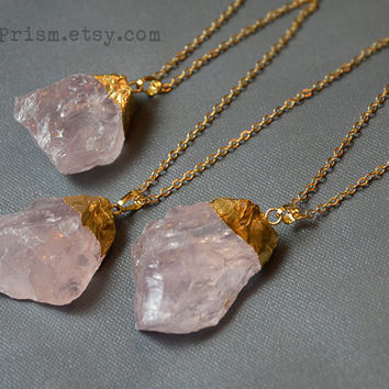 Raw Natural Rose Quartz Necklace | Gold Plated Gemstone | Gold Crystal Necklace | Gold Plated Quartz | Pink Crystal Necklace | Pink Quartz