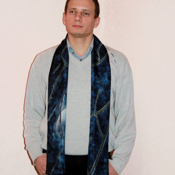 "Mens scarf ""Moon Night"". Hand-painted Double sided silk scarf. Men's fashion. Unique gift. Luxury blue, black colors. 172x22 cm,68x9"". Ready"