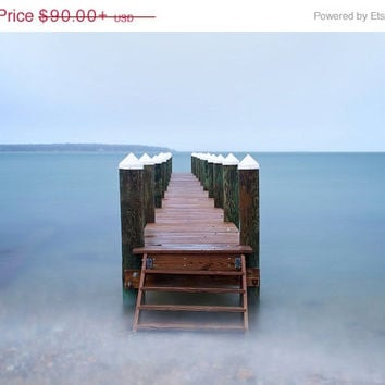 Coastal Wall Art, Beach Pier Photo, Metal Print, Oak Bluffs, Martha's Vineyard Ocean Photography Metal Wall Art Large Artwork Blue Teal Aqua