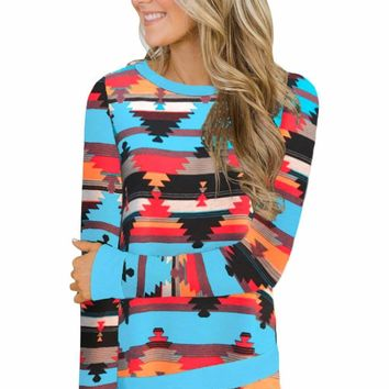 Turquoise Aztec Tunic Top with Elbow Patches