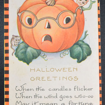 Halloween Postcard Whitney Made JOL Imp and Mouse Orange Black Checkered Border
