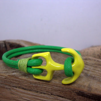 FREE SHIPPING - Men leather Bracelet. Men's Bracelet, Men's Leather Bracelet. Men Bracelet. valentine gift. Green Leather and yellow anchor.
