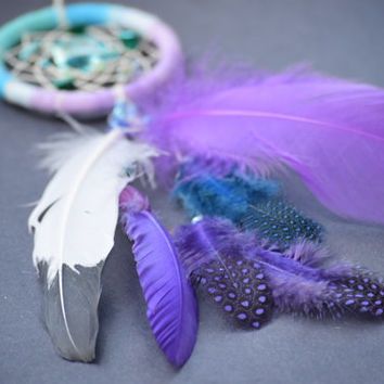 Car Charm Dream Catcher, Small Purple  Dreamcatcher  Sea Shell< Car Accessory, Bohemian Decor.