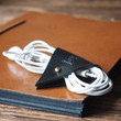 Leather Cord Holder - handmade, cord organizer, Earbud Cable Organizer, Earphone, Headphone, cable ties, cable tidy, cable organizer #Black