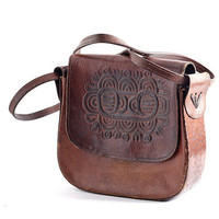 Vintage 1970s Hippie Bulgarian Tool Bag Dark Leather, Perfect Distressed Leather, Hippie BoHo Bag, Great Christmas Gift