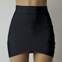 Women Cross Straps Tight Skirts Asymmetrical Hem Clubwear Slim Pencil Mini Skirt  New