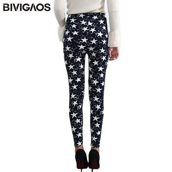BIVIGAOS Spring Summer Womens Fashion Black Milk Thin Stretch leggings Colored Stars G