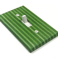 Green Vertical Stripes Light Switch Cover